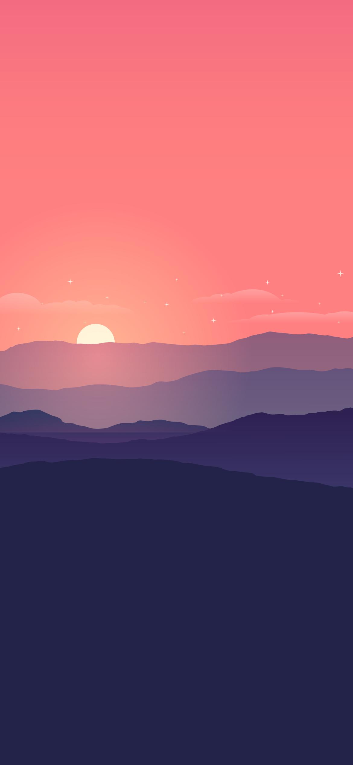 SUNSET LANDSCAPE SUN COOL MINIMAL