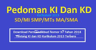 Pedoman Terbaru KI dan KD Kurikulum 2013 SD/MI SMP/MTs MA/SMA Tahun 2019