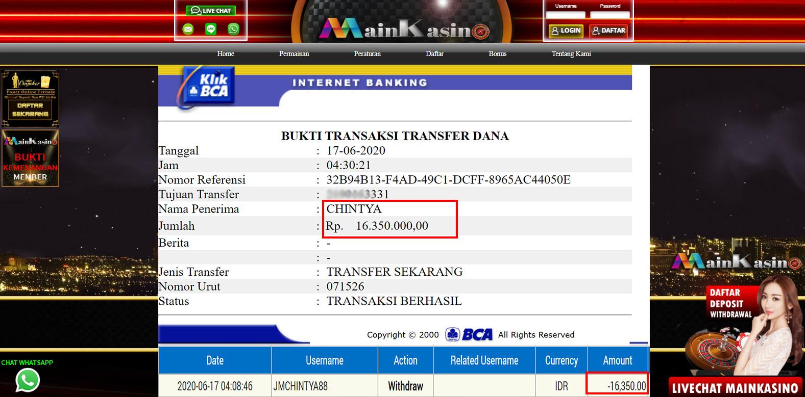 Selamat Kepada Member Setia MAIN KASINO Withdraw RP  16.350.000