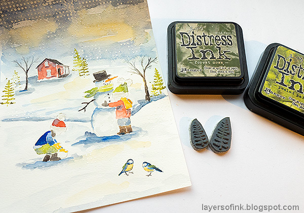 Layers of ink - Watercolor Snow Scene Tutorial by Anna-Karin Evaldsson.