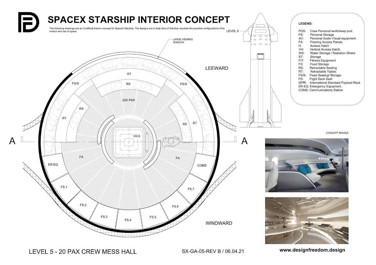 SpaceX Starship interior concept by Paul King - Level 5 - Crew mess hall