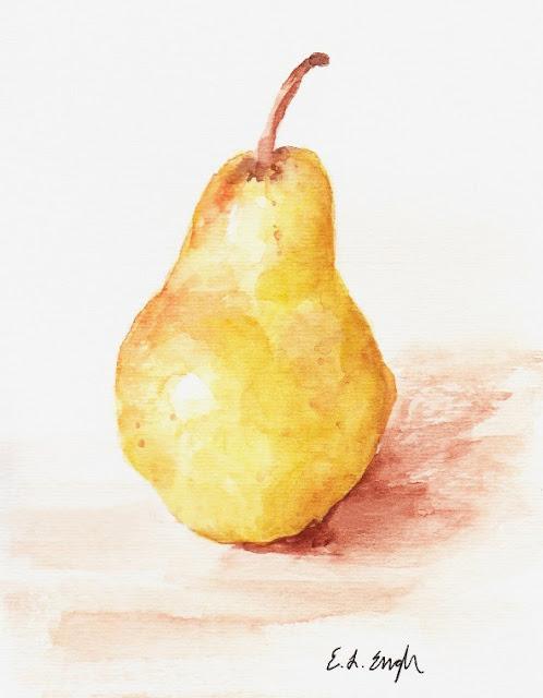 Yellow Watercolor Pear Art