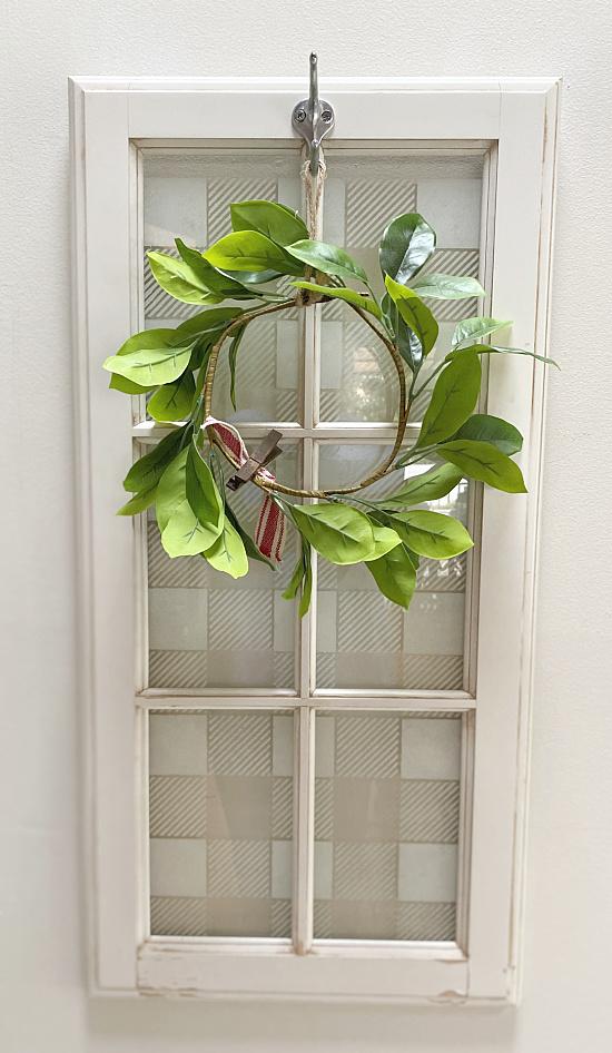 glass window with wreath