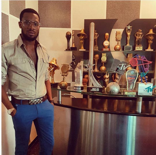 Dbanj shows off his collection of awards, says God is behind his success