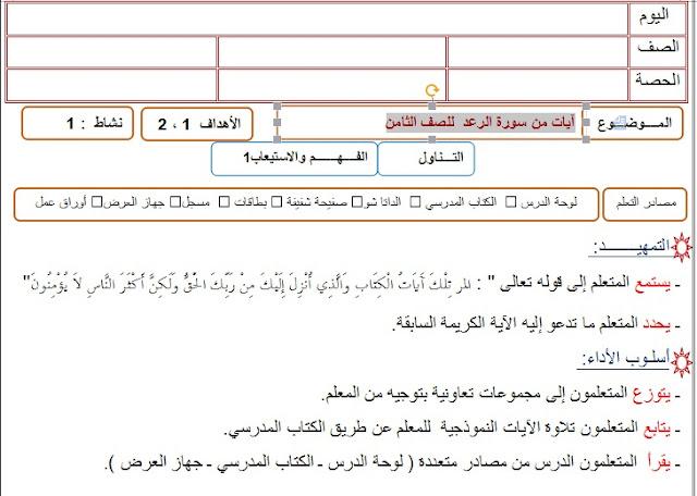 تحضير آيات من سورة الرعد في اللغة العربية للصف الثامن