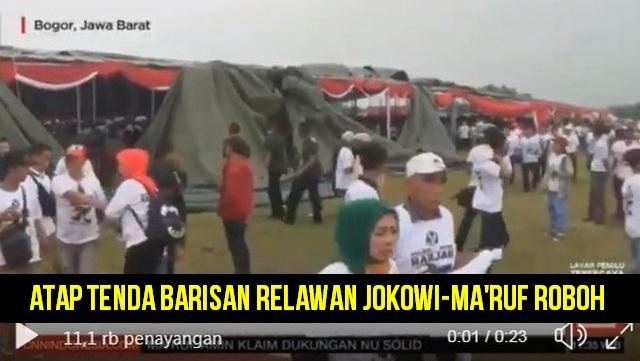 Atap Tenda Roboh Saat Deklarasi, Relawan Jokowi-Ma'ruf Berhamburan Keluar dan Pulang