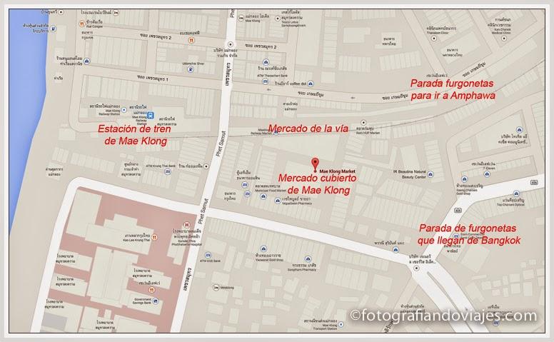 Mapa mercado de Mae Klong o mercado de la vía del tren