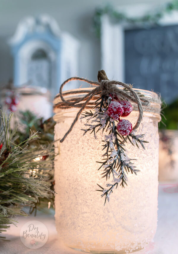 frosted Christmas luminaries lit up