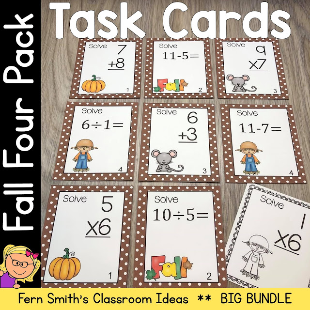 Fall Addition, Subtraction, Multiplication, and Division Task Cards #FernSmithsClassroomIdeas