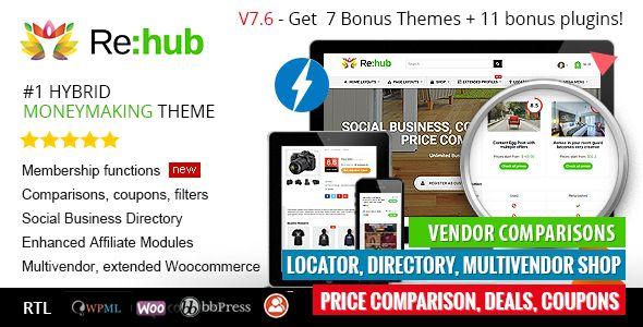 REHub v7.6.9.3 – Price Comparison, Multi Vendor Store WordPress Theme Download