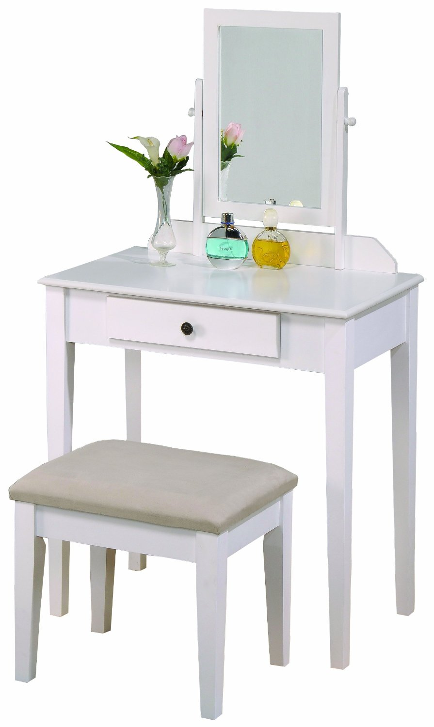Mirrored Vanity Table And Stool: Sitting Pretty: Affordable Vanity Table Sets With Mirror