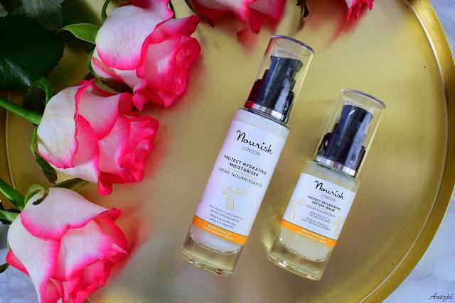 Kosmetyki Nourish Protect: głęboko nawilżający krem Protect Hydrating Moisturiser i regenerujące serum peptydowe Protect Replenishing Peptide Serum