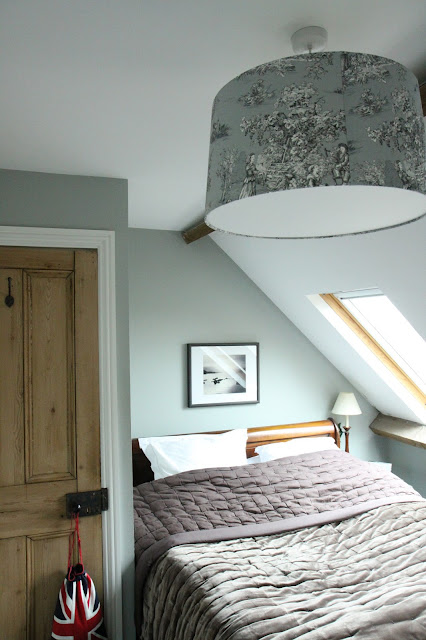 I love the beams in our attic bedroom, part of the original roof structure.