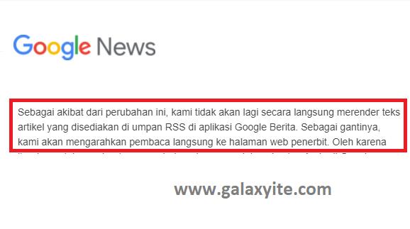 Kabar Baik Pengguna Blogger.com, Google News sekarang tidak lagi menggunakan RSS