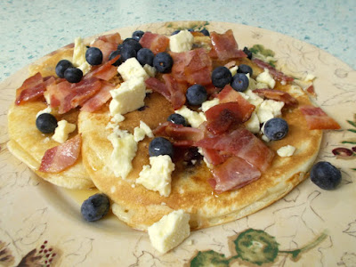 Bacon, blueberry, Cheshire cheese & maple syrup American style blueberry pancakes