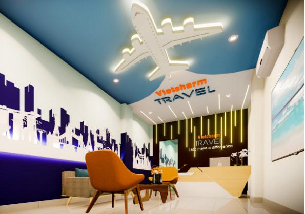 biểu tượng chiếc máy bay boeing, gắn kết với logo thương hiệu công ty trên trần văn phòng
