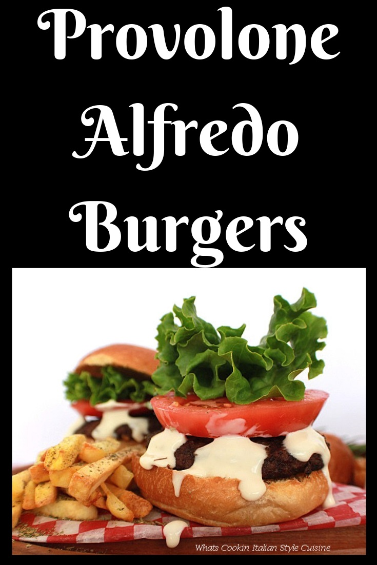 this is a delicious way to grill hamburger these have homemade alfredo sauce on them. They hamburgers are on checkerboard red paper and lettuce, tomato on top with a pretzel roll bun