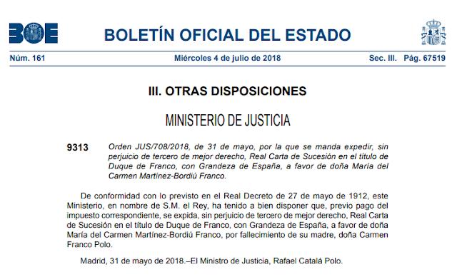 Carmen Martínez-Bordiú ya es duquesa de Franco gracias al PP