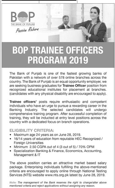 The Bank Of Punjab Jobs 2019 - BOP Management Trainee Program 2019