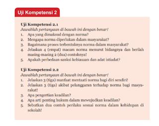 Soal dan Jawaban Uji Kompetensi 2.1 PKN Kelas 7 Halaman 61