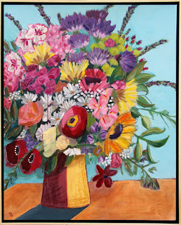 Sunshine on My Shoulder mixed media framed floral painting by artist Merrill Weber