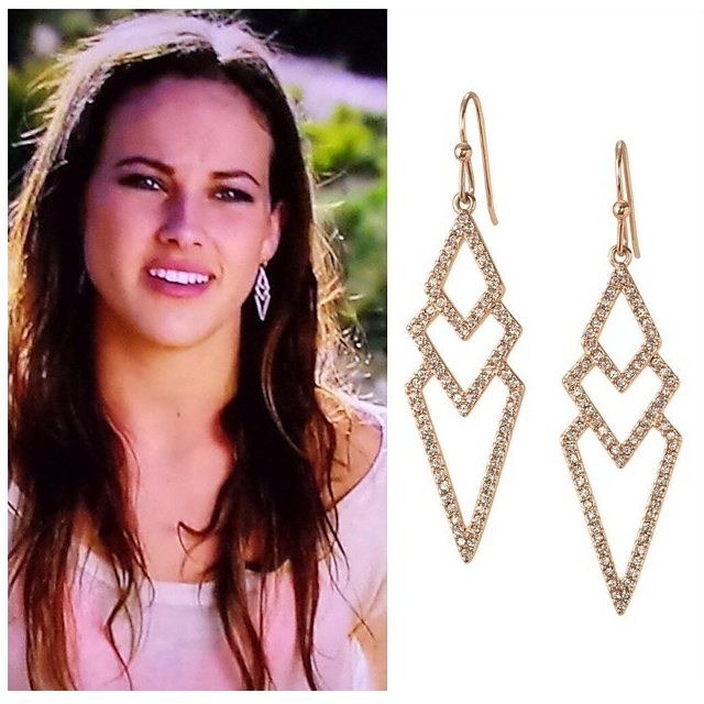Mackenzie on The Bachelor in Stella & Dot's Rose Gold Pave Spear Earrings