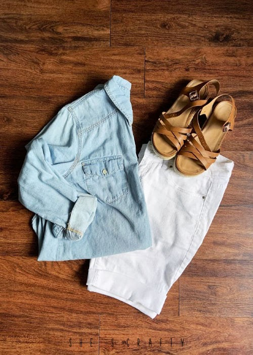 6 Easy Summer Outfit Ideas for moms that are Cool and Comfortable - white knee length shorts and chambray shirt
