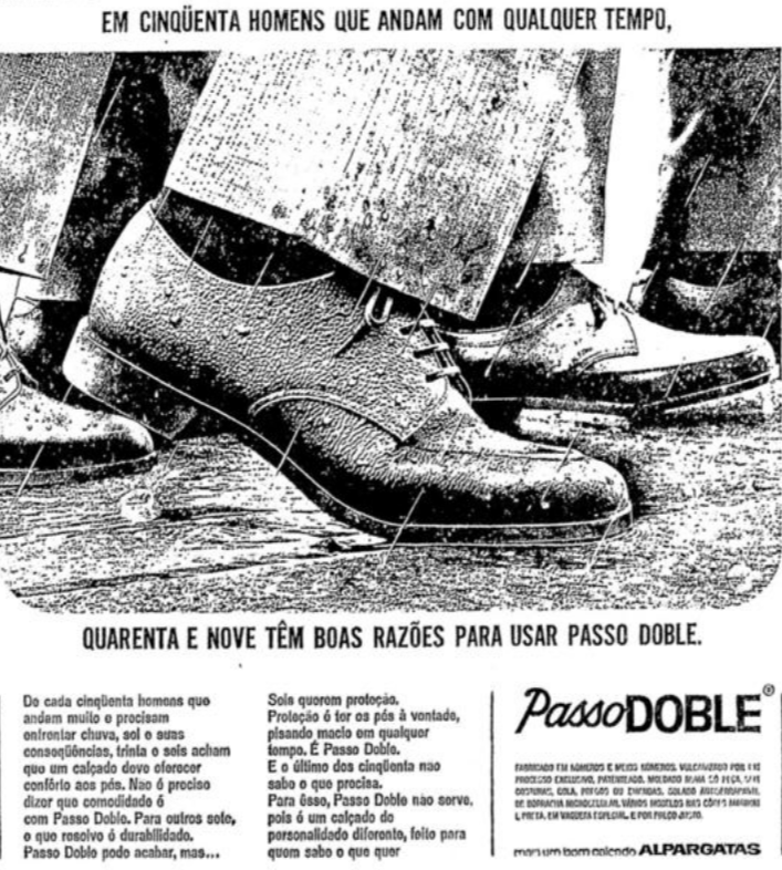 Propaganda antiga do Sapato Passo Doble das Alpargatas na metade dos anos 60