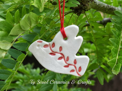 Christmas tree decoration, dove of peace by Ty Siriol Ceramics & Crafts