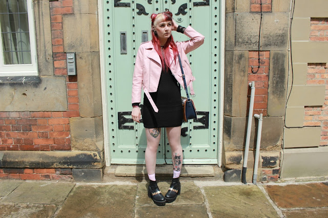 Zara Pink Leather Jacket Topshop dress