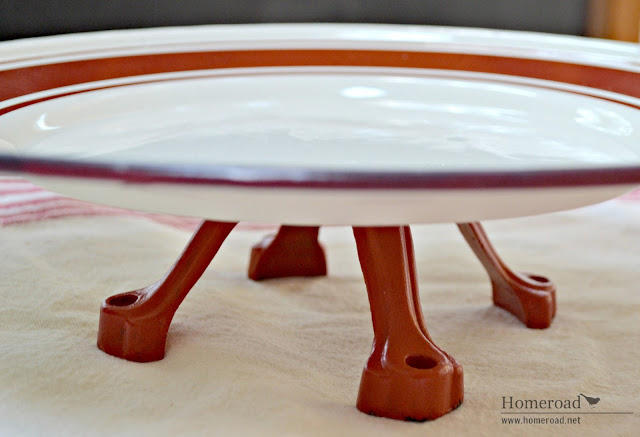 Red and white nautical enamelware pedestal dish