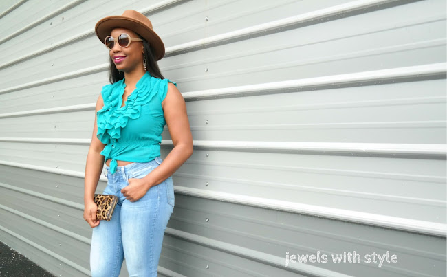 fedora hat outfit, blue & brown outfit, summer survival guide, summer 2017, fedora and jeans outfit, brown fedora hat, how to wear ruffles, ruffled shirt outfit, jewels with style, columbus style blogger, ohio blogger, columbus wardrobe stylist, columbus personal stylist