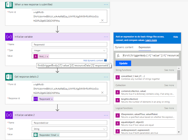 Capture the details of person who responded to the survey - Microsoft Flow