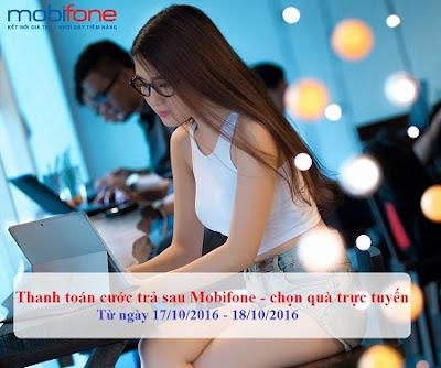 Mobifone khuyến mãi trực tuyến trả sau ngày 17 - 18/10