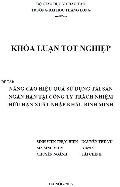 Nâng cao hiệu quả sử dụng tài sản ngắn hạn tại Công ty TNHH Xuất nhập khẩu Bình Minh
