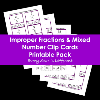Improper Fractions & Mixed Number Clip Cards Printable Pack