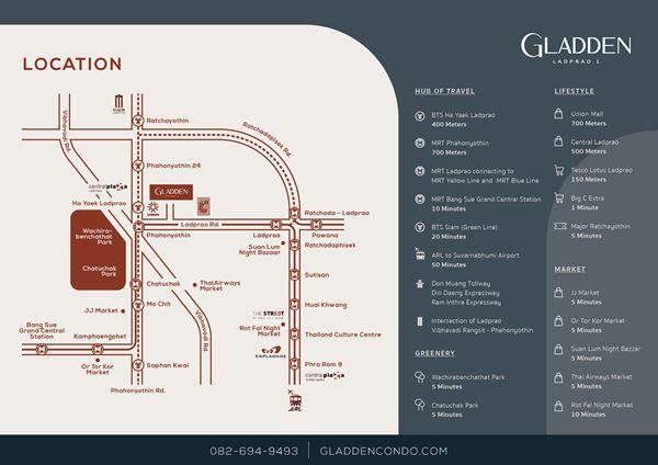 ขายคอนโด Gladden แกลดเดิน ลาดพร้าว1 เขตจตุจักร กรุงเทพ
