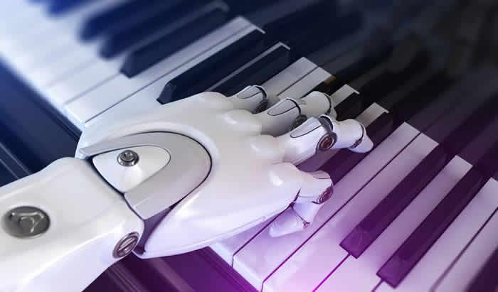 Robô tocando piano com inteligência Artificial