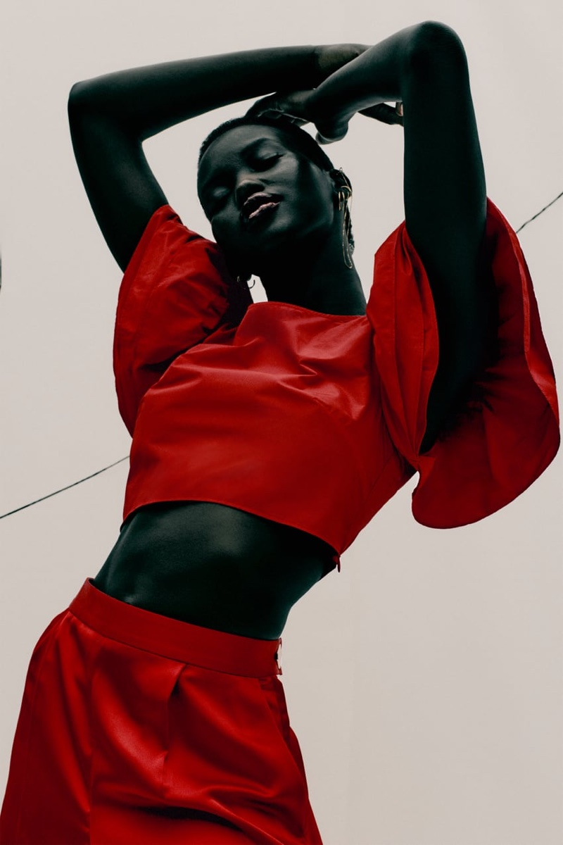 Zara Ruffled Sleeve Top and Pleated Satin Effect Shorts.