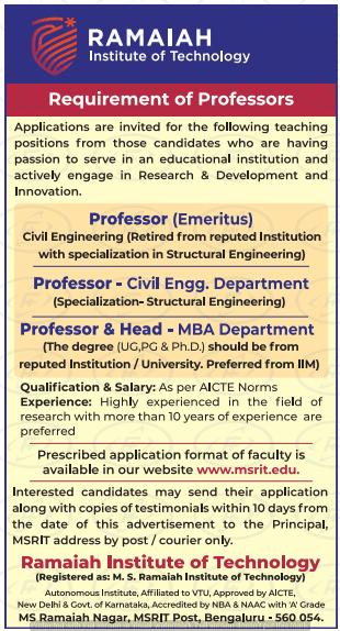 Ramaiah Institute of Technology Professor Jobs