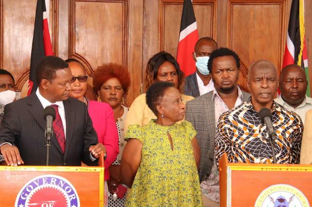 Makueni Governor Kivutha Kibwana with Machakos counterpart Alfred Mutua