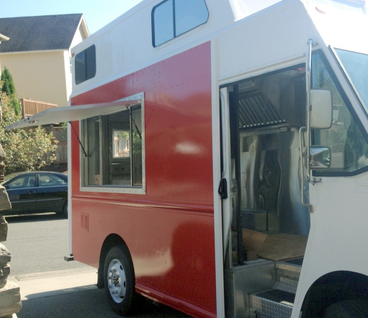 Food Truck Parked to Display the New Service Window Exterior View
