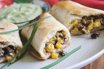Corn, bean, cheese and chicken wraps