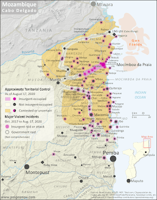 Mozambique: Cabo Delgado insurgency map - October 2017 to August 2020: Detailed, close-up control map showing areas occupied by so-called ISIS-linked rebels in northern Mozambique (also known as Ahlu Sunnah Wa Jama, ASWJ, or Ansar al-Sunnah), plus towns and villages raided by the insurgents over the past three years. Shows roads, rivers, and terrain, and includes key locations of the insurgency such as Mocímboa da Praia, Awasse, Macomia, the Total LNG site and natural gas fields, Miangalewa, Litingina, Ntessa, Cagembe, Marere, Makulo, and many, many more. Colorblind accessible.