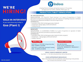 Indoco Remedies Ltd A leading Pharma Company Recruitment For Officer and Associate For Production(Tablet Formulation) in Goa Plant