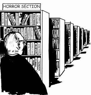 Math phobia with math books in horror section of library #iteachmath