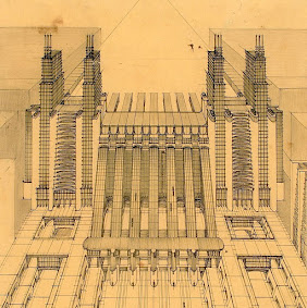 Sant'Elia's vision of an airport rail terminal with escalators from the rail platforms