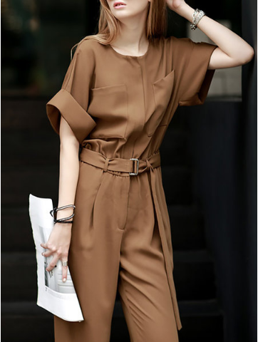 Tan Belted Jumpsuit StyleWe - A Glimpse of Glam Andrea Tiffany