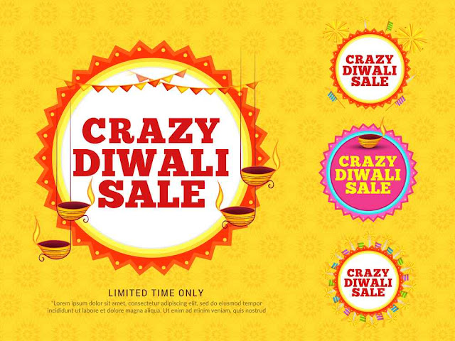 Creative sale banner or sale poster for festival of diwali celebration background
