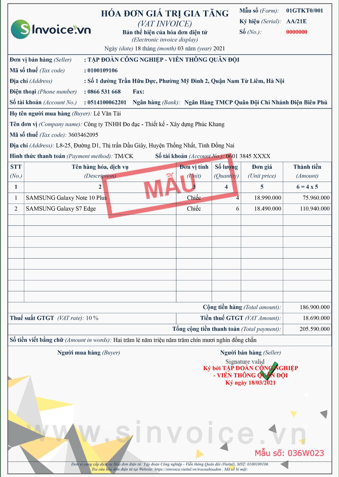 Mẫu hóa đơn điện tử số 036W023